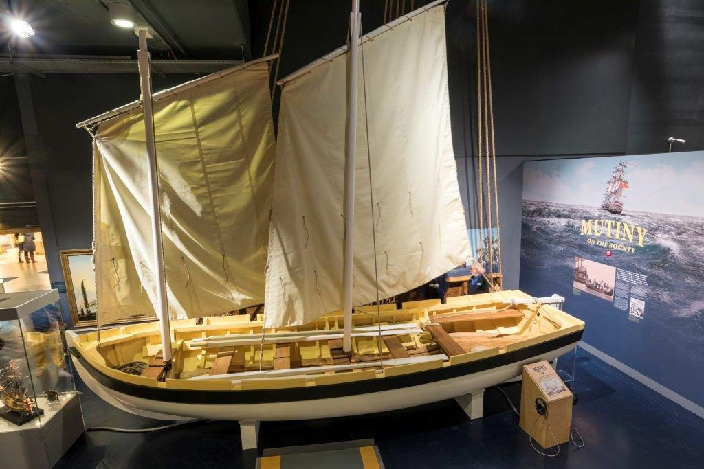 The exhibition features faithful reproduction of the Bounty launch. Photo: Paul Abbitt.