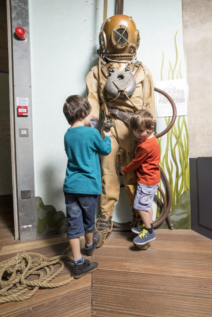 Alfie and Noah with The Diver in The Tidal Zone at The National Maritime Museum Cornwall in Falmouth