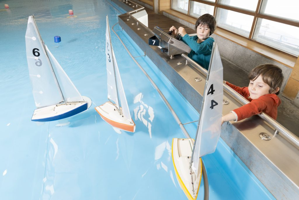 Alfie and Noah in the boat pool at The National Maritime Museum Cornwall