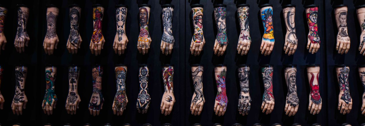 The 100 Hands installation part of British Tattoo Art Revealed at The National Maritime Museum Cornwall in Falmouth. Photo by Luke Hayes