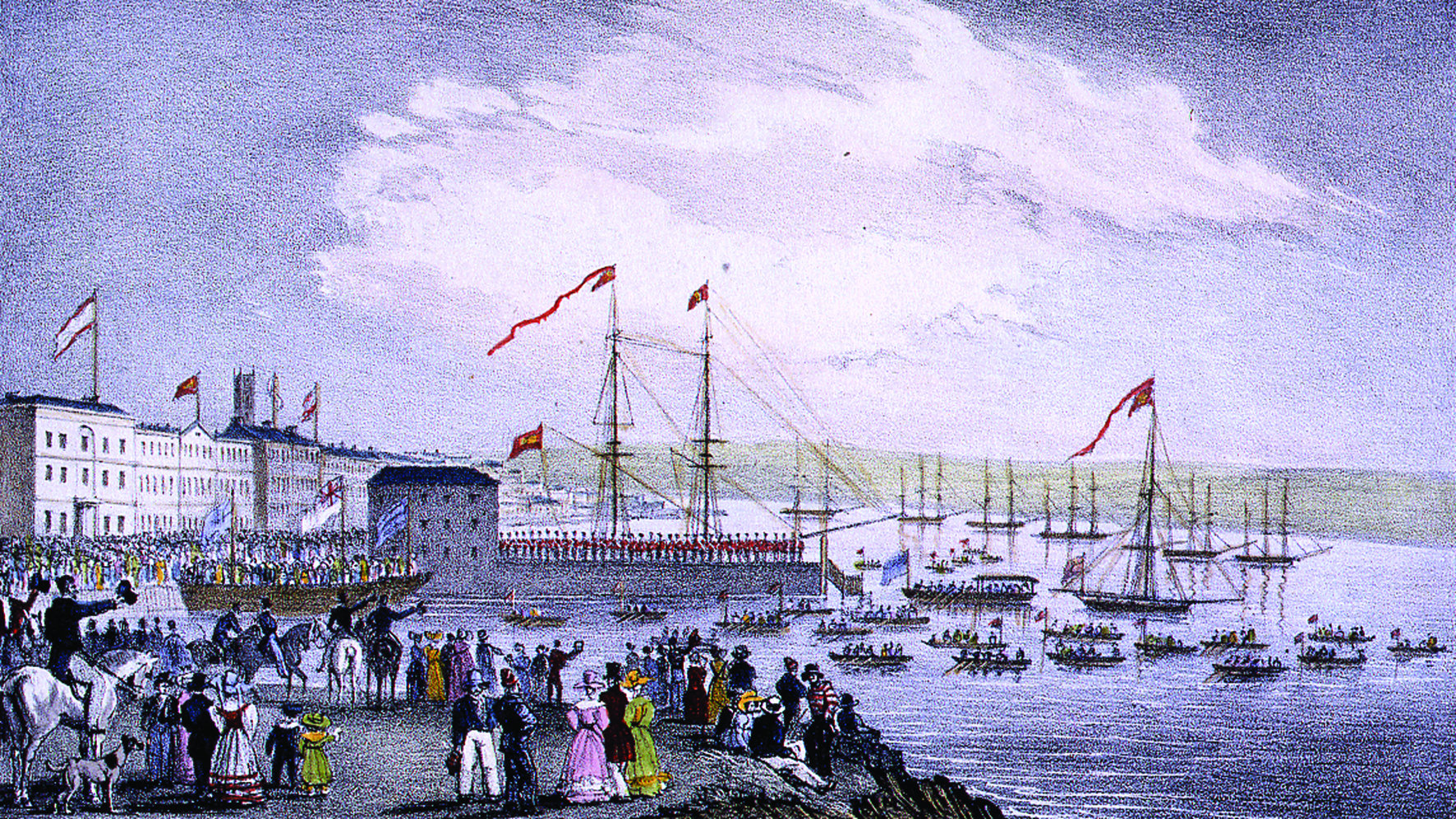 The Landing of Dona Maria II Queen of Portugal at Falmouth,